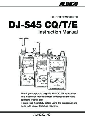 Alinco DJ-S45 CQ T E VHF UHF FM Radio Owners Manual