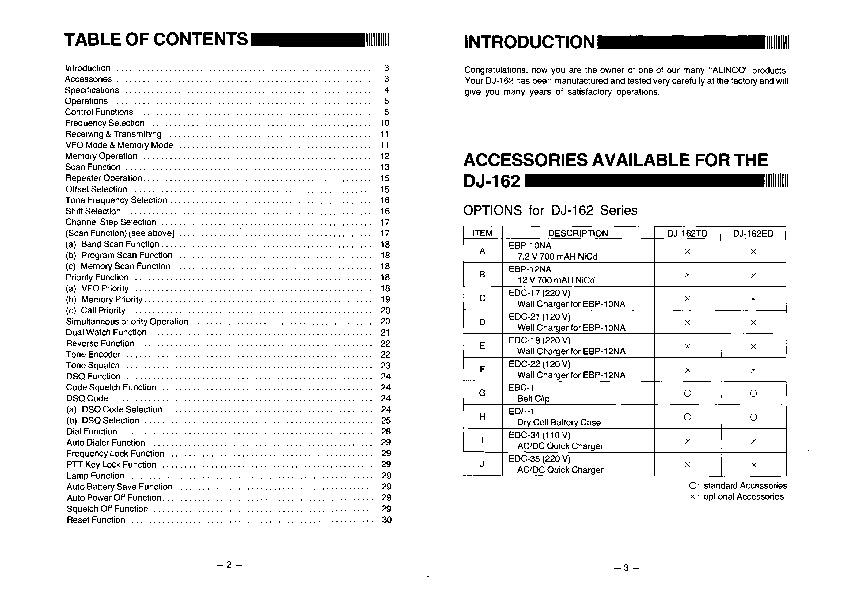 Alinco DJ-162 TD VHF UHF FM Radio Instruction Owners Manual