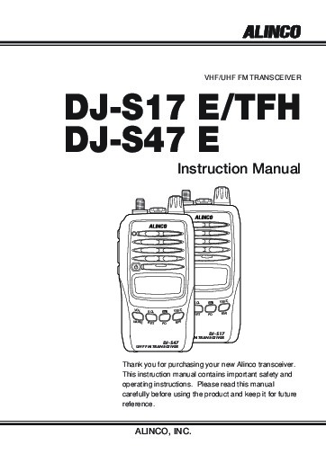 Alinco DJ-S17 DJ-S47 E TFH VHF UHF FM Radio Instruction