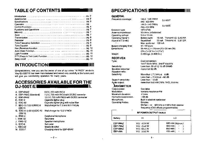 Alinco DJ-500 VHF UHF FM Radio Instruction Owners Manual