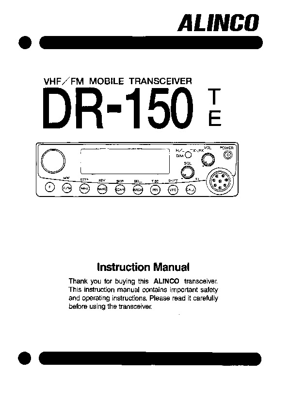 Alinco DR-150 VHF UHF FM Radio Owners Manual