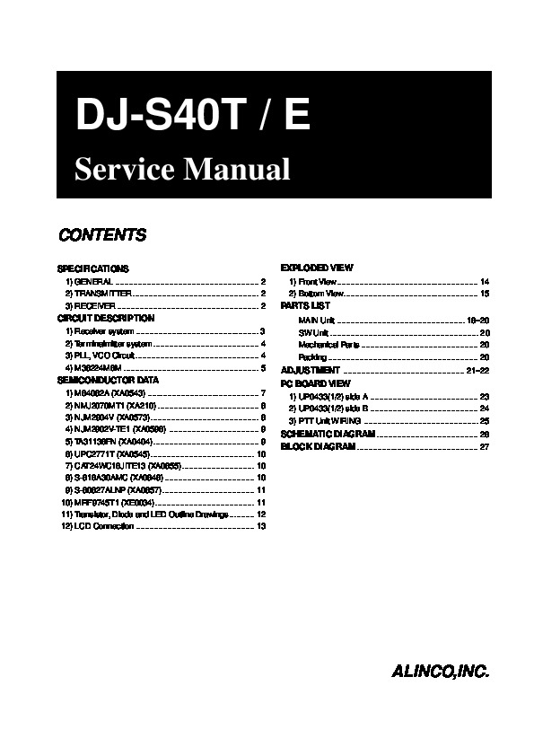 Alinco DJ-S40 T E VHF UHF FM Radio Instruction Service Manual