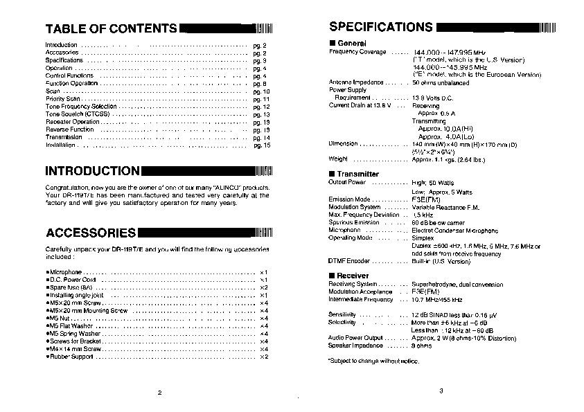 Alinco DR 119 VHF UHF FM Radio Owners Manual