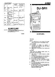 Alinco DJ-SR1 VHF UHF FM Radio Instruction Owners Manual