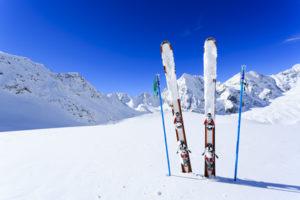 Ski, winter season , mountains and ski equipments