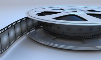 Retro reel film close-up. 3d render image.