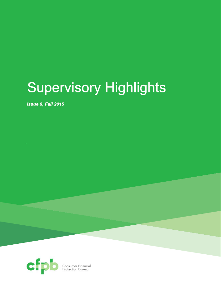 Supervisory highlights reveals wide spread compliance by for Bureau antonym