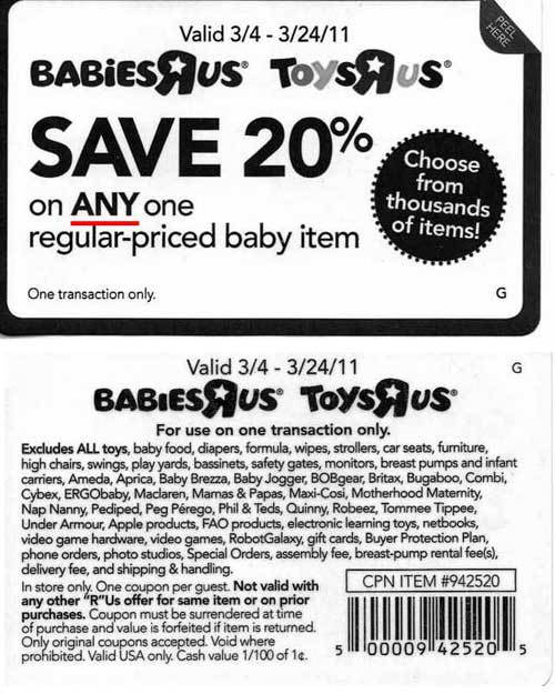 20 Off Printable Coupon For Toys R Us : printable, coupon, Babies, Coupon, Actually, Consumerist