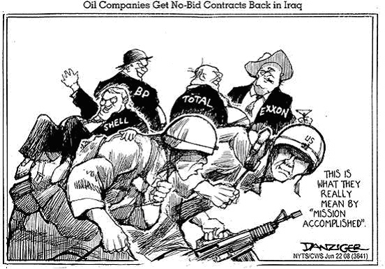Iraq war and oil, cartoon