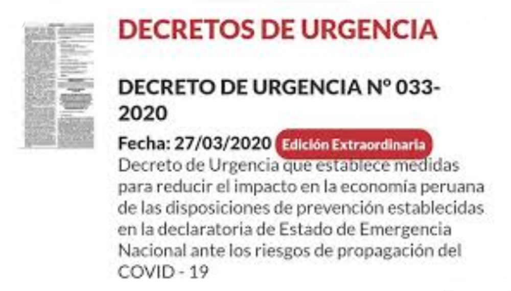 Decreto de Urgencia 033-2020