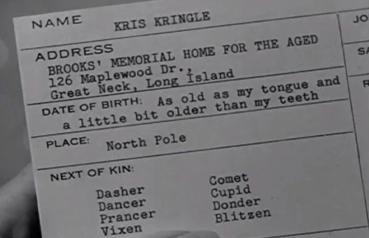 Kris Kringle's job application in Miracle on 34th Street | Miracle on 34th  street, 34 street, Movie quotes