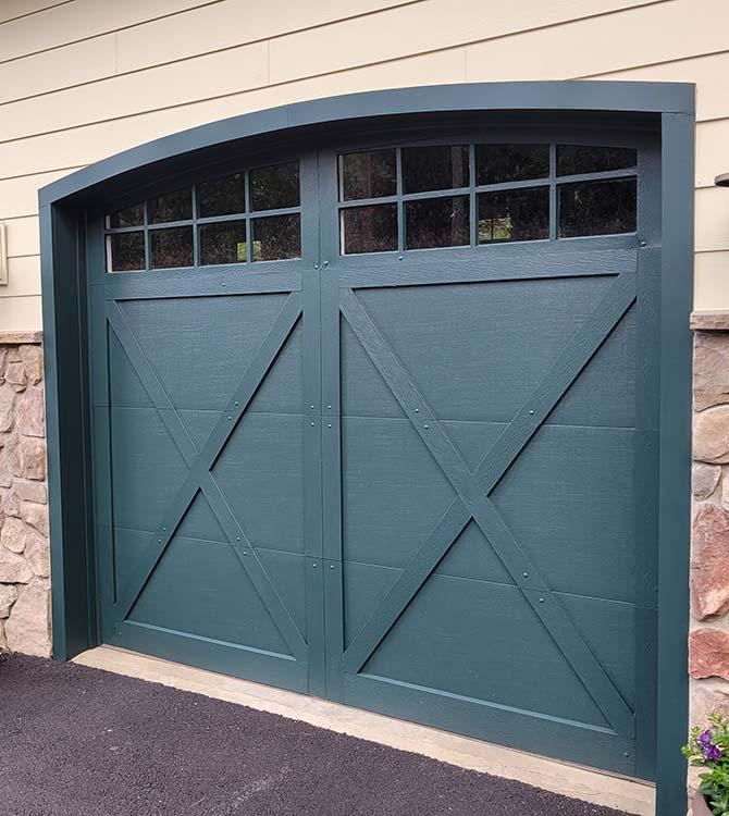 After photo of a freshly painted garage door