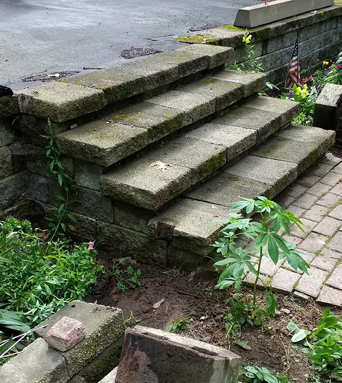 Before photo of wooden stairs