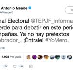 Ya no hay pretextos para debatir, reta Meade a López Obrador