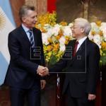 Macri inicia su visita oficial a Vietnam para reforzar lazos comerciales