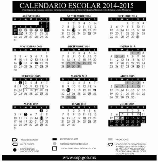 Calendario Escolar SEP 2014