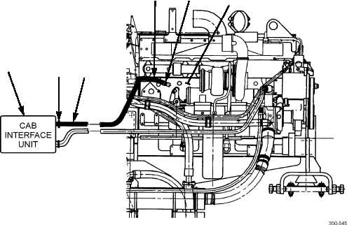 CAB INTERFACE UNIT-TO-ENGINE BLOCK HOSE