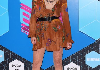 Sonya Esman hosts on the red carpet for the MTV EMA's