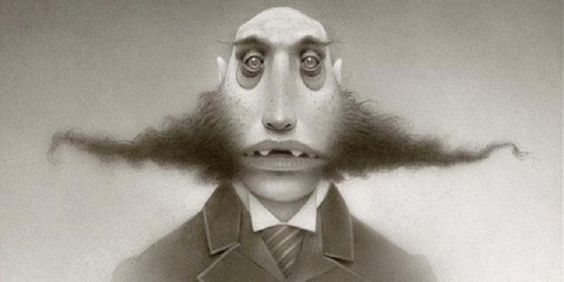 Retrato em preto e branco de um um homem estranho. A imagem é uma ilustração que transforma um ser parecido como um monstro em um homem.