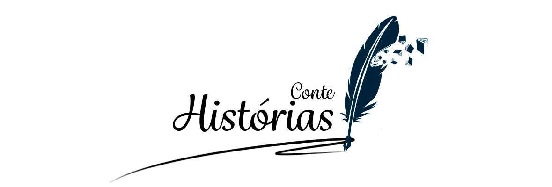 """O nome do blog, """"Conte Histórias"""", escrito por uma caneta-pena"""