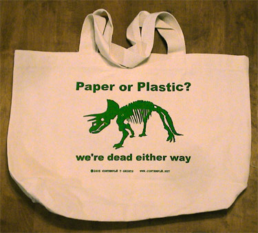 EcoFriendly NonBleached 100 Cotton Tote Bags  Dinosaur