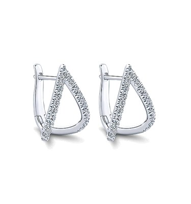 14 KT WHITE GOLD EARRINGS WITH .42CTS IN TOTAL WEIGHT DIAMONDS-EG13174W45JJ