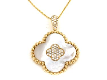 """14KT YELLOW GOLD MOTHER OF PEARL AND DIAMOND CLOVER LEAF PENDANT WITH 18"""" CHAIN-N02278-WMOP.Y"""
