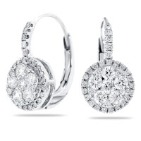 14k White Gold Lever Back Earrings with Round Diamond
