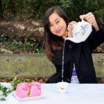 artist portrait cake and tea