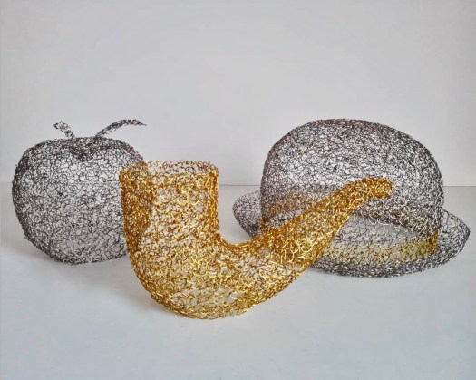 brass and silver wire sculpture artworks