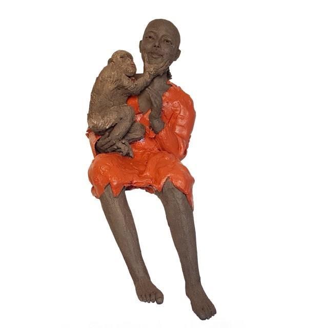Buddhist Monk bronze sculpture by Corinne Chauvet