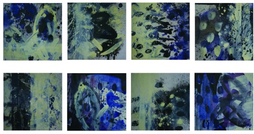 """Untitled. Acrylic On Paper.Installation of 9 individual 9"""" x 9"""" pieces"""
