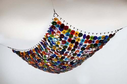 Woven Galaxy. Bullseye Glass Textile. Series Color Splashes