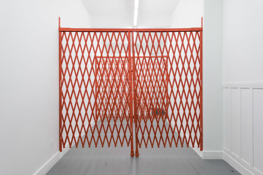 Brody Albert and Kaeleen Wescoat-O'Neill, Collapsible Scissor Gates (Red) (2015), Dyed MDF, 8' x 8' x 10.5'. Courtesy of the artists and Vacancy.