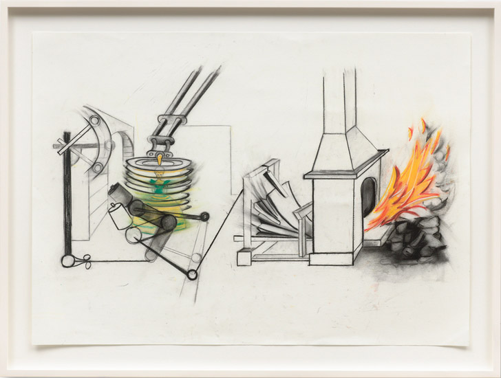 Ericka Beckman , Study for Cinderella's Basement (from 1985 notebook) (2015). Charcoal, graphite, and pastel on paper, framed 26 x 36.5 inches. Image courtesy of the artist and Cherry and Martin.