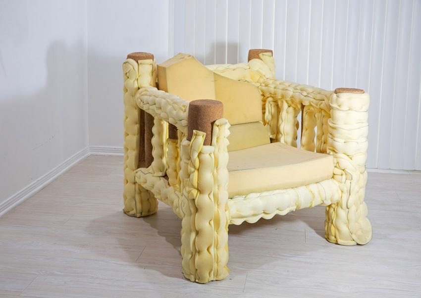 Jessi Reaves - Life is Getting Longer Baguette Chair, 2016, wood, upholstery foam, sawdust, ink