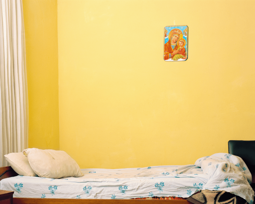 Awol Erizku, Empty Bed with The Virgin Mary (2013). Digital Chromatic print. 40 x 50 inches. Image courtesy of artist and The FLAG Art Foundation.
