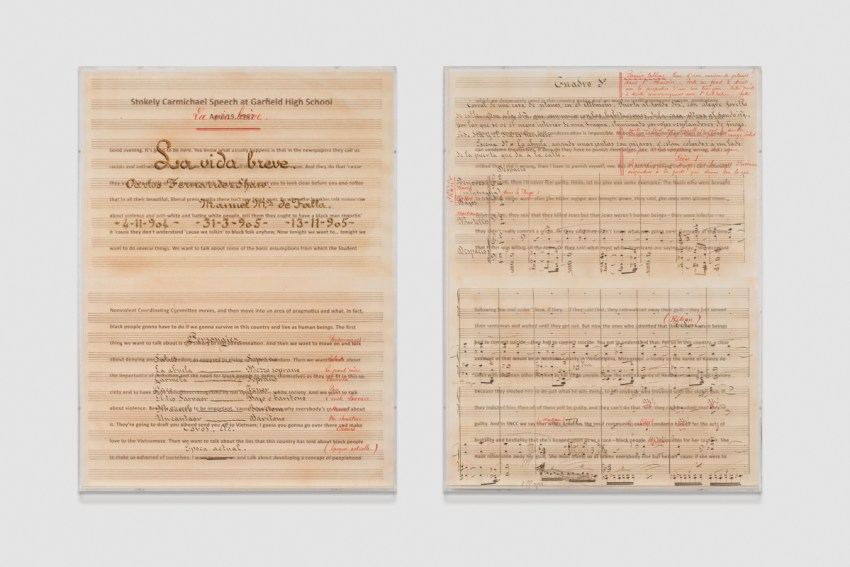 Charles Gaines, Librettos: Manuel de Falla / Stokely Carmichael, Set 1 (2015). Printed ink-stained paper and lightjet print on acrylic. Diptych, 36 × 27 × 3 inches each; 36 × 56 × 3 in. overall. Image courtesy of the artist; Susanne Vielmetter Los Angeles Projects; and Paula Cooper Gallery, New York. Photo: Josh White.