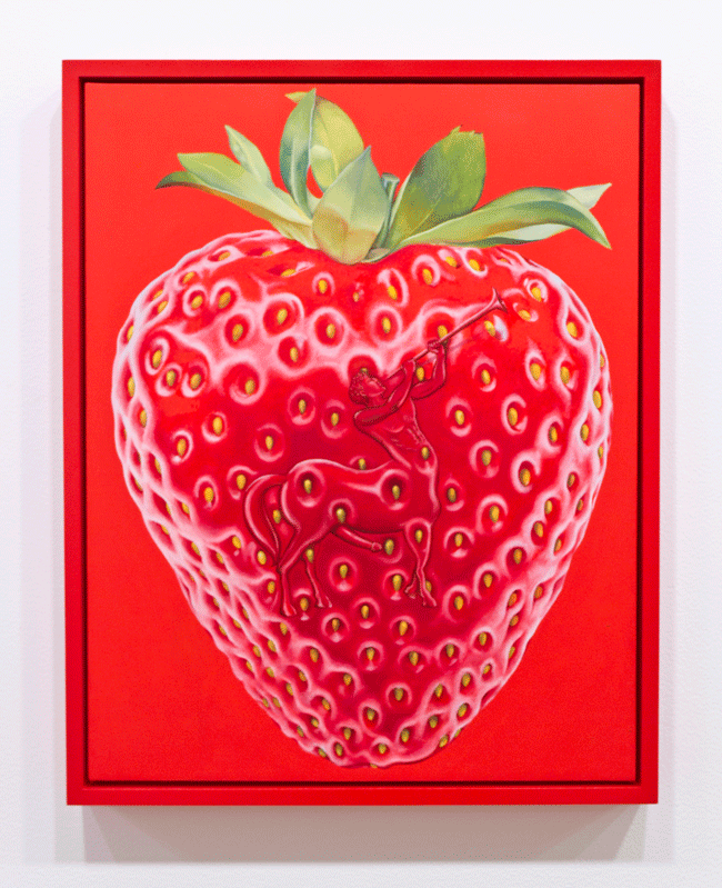 Orion Martin, Strawberry (2015). Oil on canvas, 21 x 17 inches. Image courtesy of the artist and Favorite Goods.