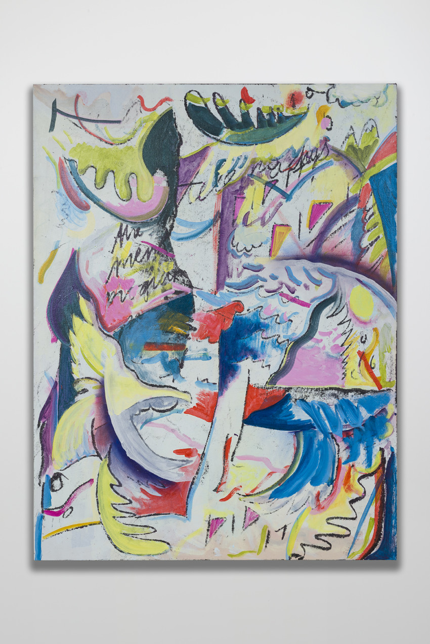 Jesse Willenbring, The Mentor Program No. 1: Telemachus Did It! (2016). Flashe, fabric dye, acrylic and pastel on paper, 57 3/4 x 44 inches. Image courtesy of the artist and Thomas Duncan Gallery.