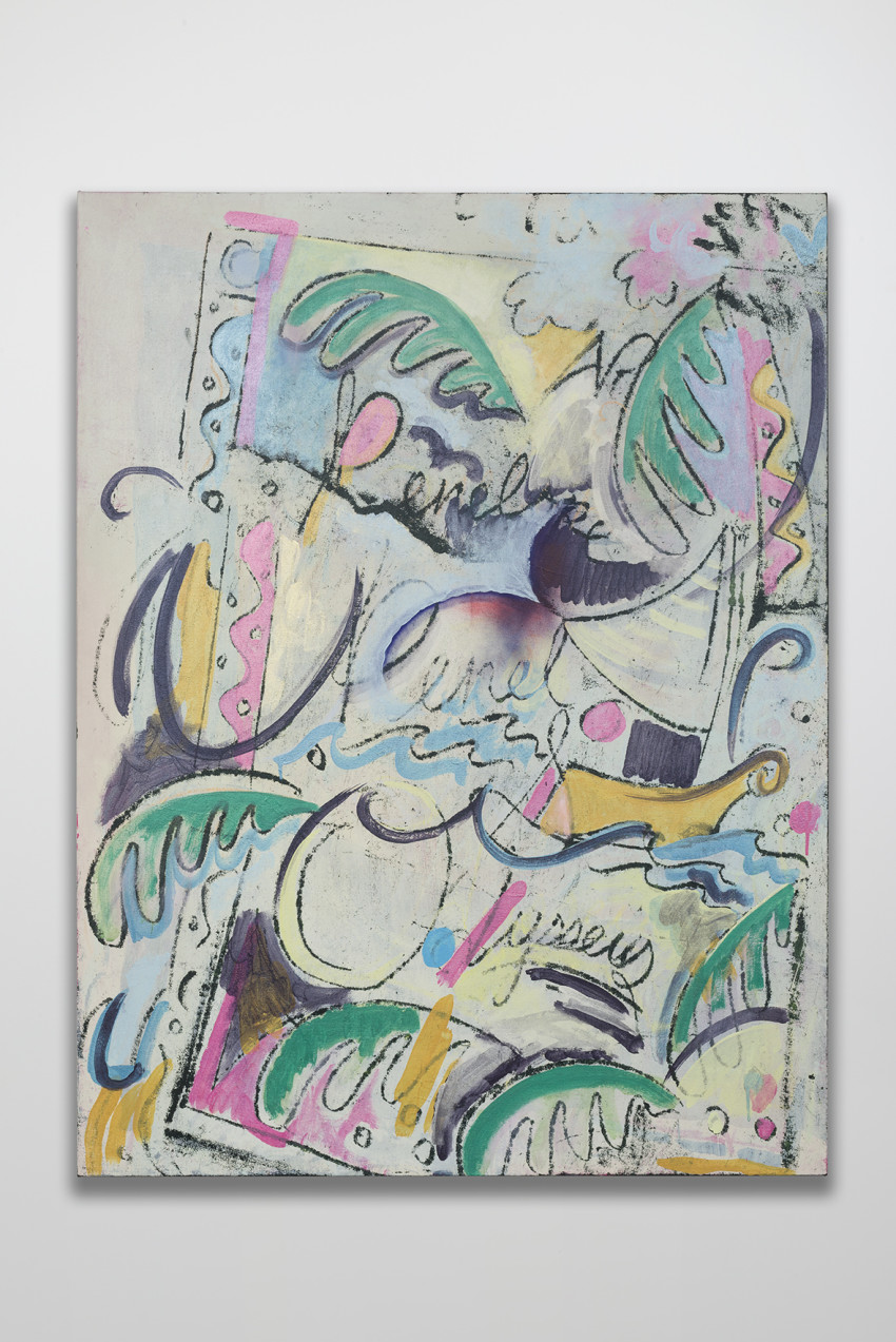 Jesse Willenbring, The Athenian Plea: Penelope & Odysseus (2016). Flashe, fabric dye, acrylic and pastel on canvas, 57 3/4 x 44 inches. Image courtesy of the artist and Thomas Duncan Gallery.