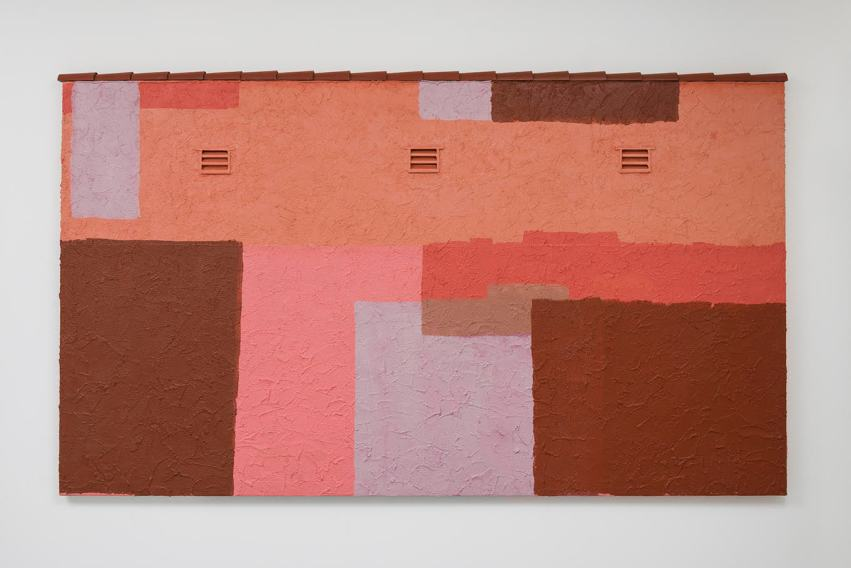 Pentti Monkkonen, 50 Shades of Mauve (2016). Wood, sand, acrylic, and aluminum on canvas on panel, 49 x 85 inches. Image courtesy of Jenny's, Los Angeles. Photo: Jeff McLane.
