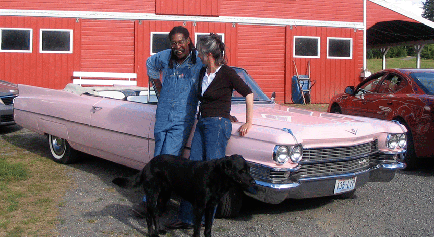 Ed Bereal with his wife, artist Barbara Sternberger, on their farm in Washington. Image courtesy of the artist.