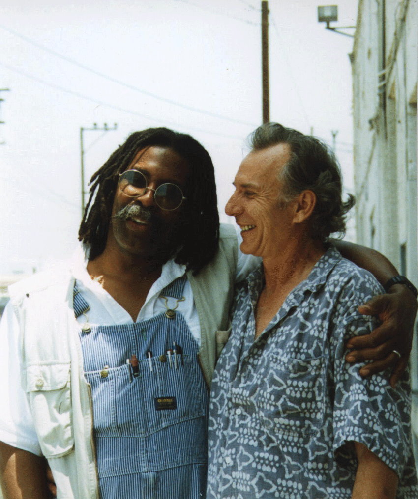 Ed Bereal with artist George Herms. Image courtesy of the artist.