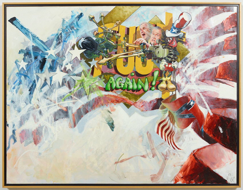 Ed Bereal, Again (Miss America, George Dubya and the Missing Florida Votes) (2002). Oil on composite material, 40 x 51.5 inches. Image courtesy of the artist and Harmony Murphy Gallery. Photo: Marten Elder.