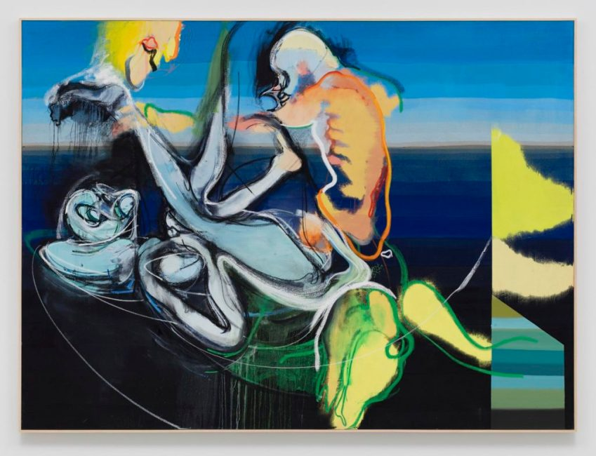 Daniel Richter, HUSH NOW (2016). Oil on canvas, 79.75 x 107.5 x 1.75 inches. Courtesy the artist and Regen Projects, Los Angeles.