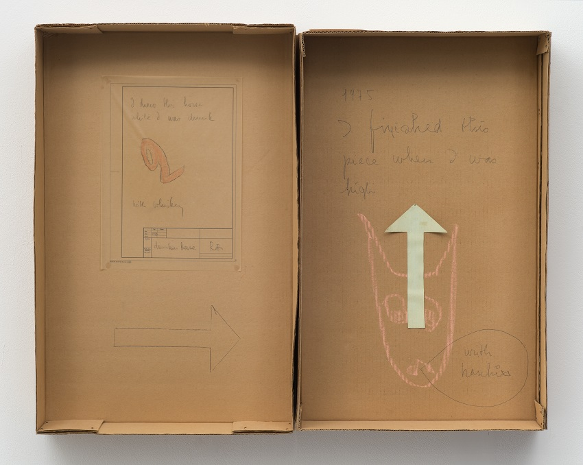 Robert Filliou, Drunken Horse (1972/75). Cardboard, chalk, graphite, tracing paper, colored paper, 26.25 x 33.5 x 4.25 inches. Copyright the Estate of the Artist. Image courtesy of Richard Saltoun Gallery, London.