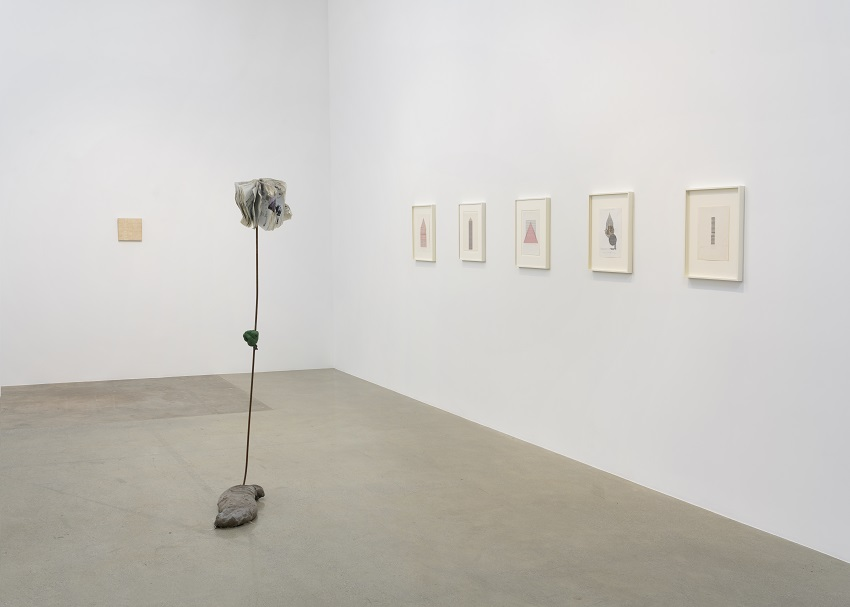 Concrete Islands (installation view) (2016). Left to right: Alighiero Boetti, Michael Dean, Henri Chopin. Image courtesy of Kayne Griffin Corcoran, Los Angeles. Photo: Robert Wedemeyer.