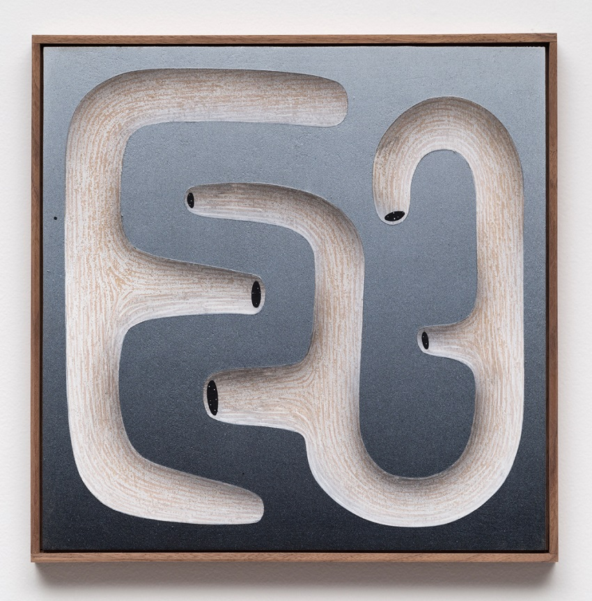 Brian Robertson, Maze Form I (2016). Acrylic on panel, walnut artist's frame, 14.5 x 14.5 inches. Image courtesy of the artist and CES Gallery.