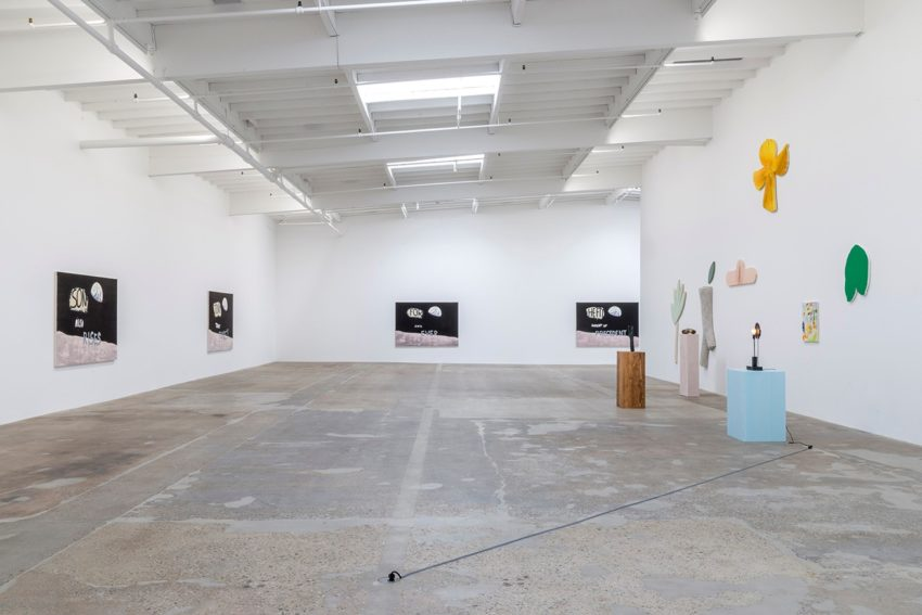 Nate Lowman at Maccarone Los Angeles (installation view) (2016). Image courtesy of the artist and Maccarone New York and Los Angeles. Photo: Joshua White.